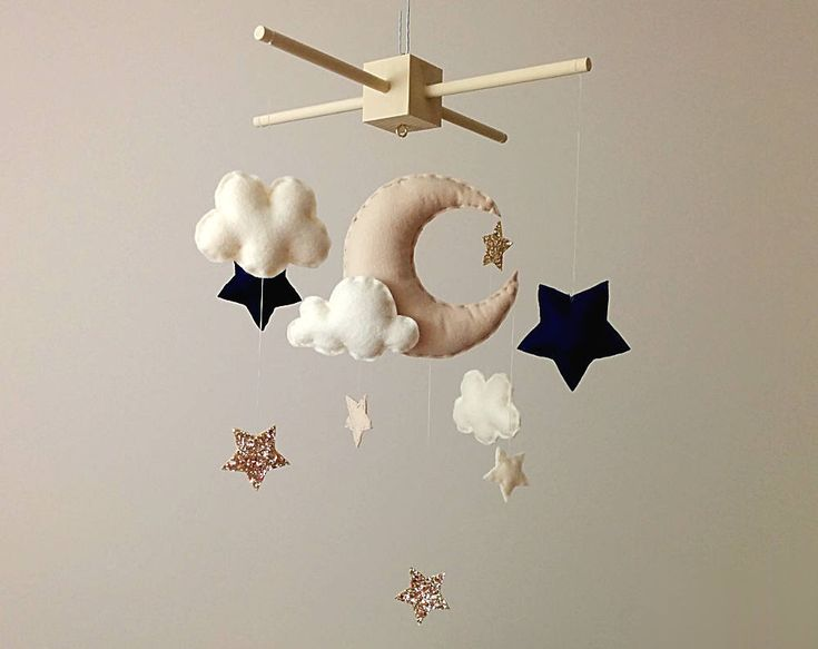 Neutral Nursery Decor Moon Stars Baby Mobile Beige Navy And
