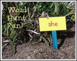 """Word Hunt Fun!  This is such a great  active learning activity. {or do this throughout a hallway in the school - let students buddy up and take turns reading words - or have older """"buddy"""" students set this up and help them read the words}"""