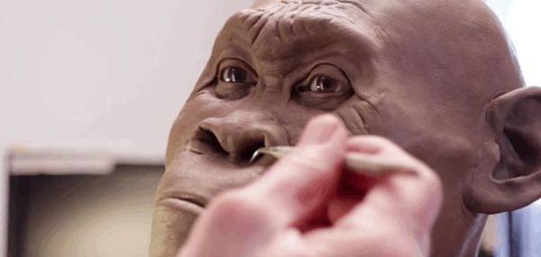 En vídeo moldelando a mano la primera recreación del Homo naledi