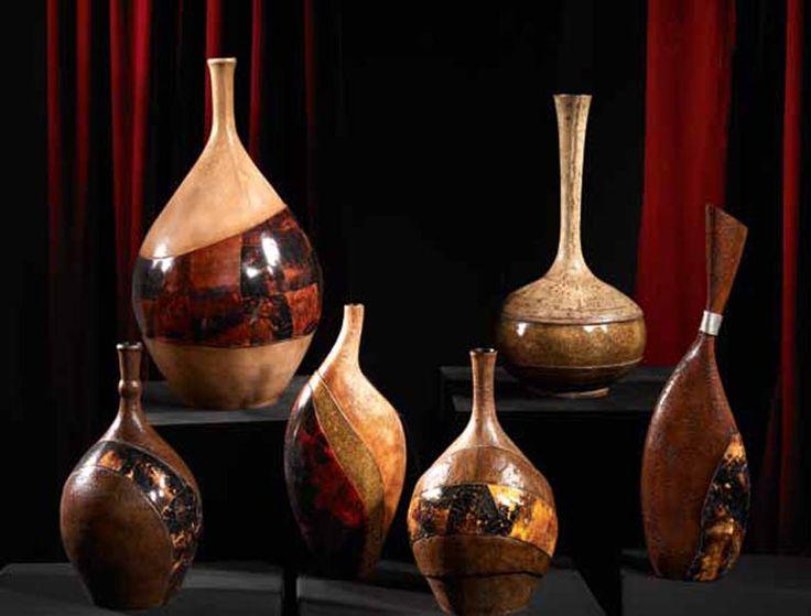 Jarrones decorativos de madera jarrones y figuras for Decoracion de jarrones