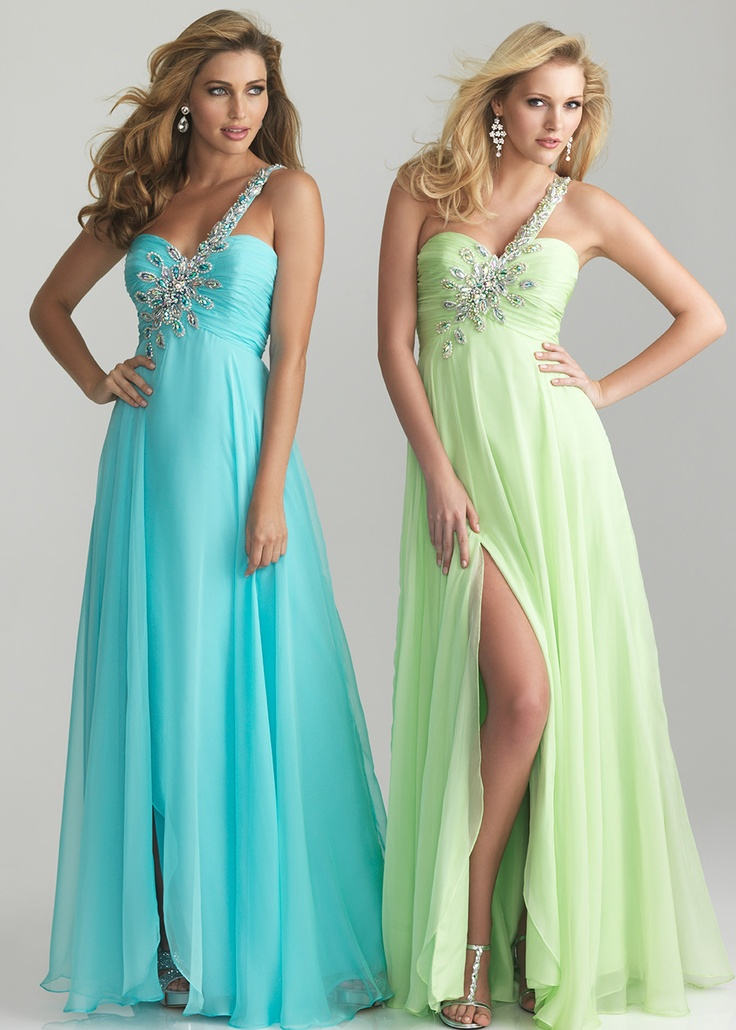Lime Green and Blue Dresses