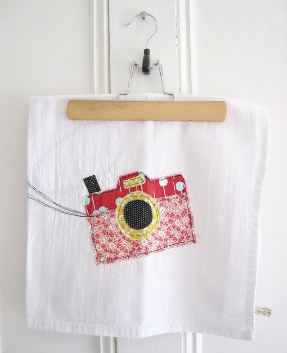 Appliqued Tea Towel Camera 100 Cotton by hangtightstudio88,