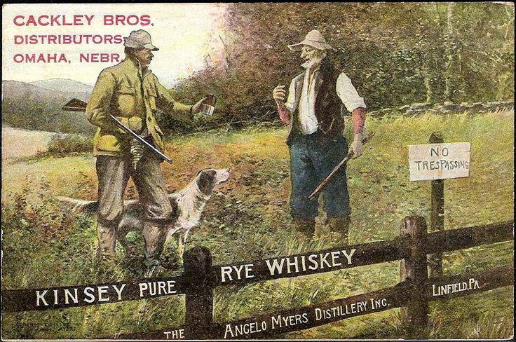 Kinsey Pure Rye Whiskey - The Angelo Myers Distillery, Linfield, PA.  Closed 1918 w/ Prohibition