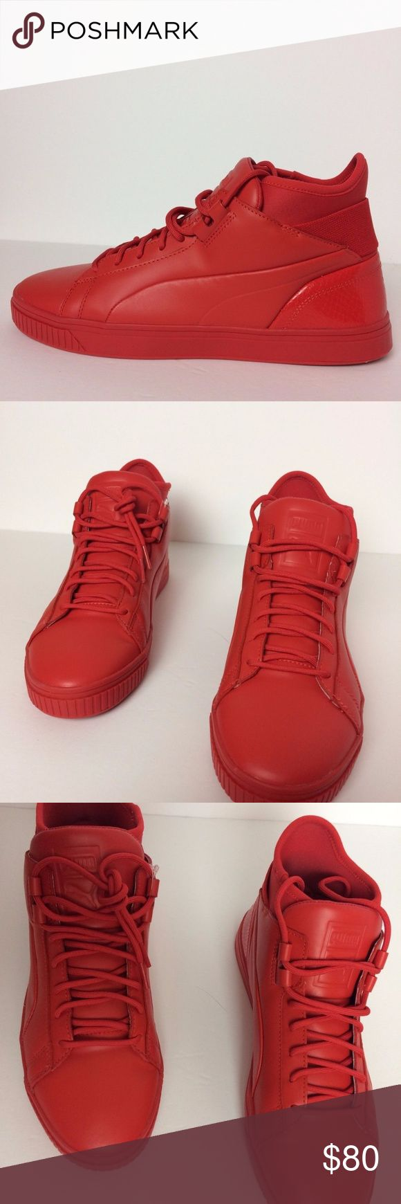 PUMA PLAY PREMIUM RED MONOTONE MID TOP MENS PUMA PLAY PREMIUM HIGH RISK RED MONOTONE MID TOP MENS SIZE 8.5 US 361709-03  No box , guaranteed 100% authentic. Puma Shoes Sneakers