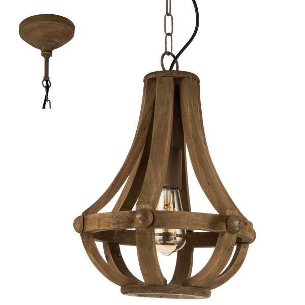 Rustykalna LAMPA wisząca KINROSS 49724 Eglo marynistyczna OPRAWA drewniany ZWIS na łańcuchu klatka drewno