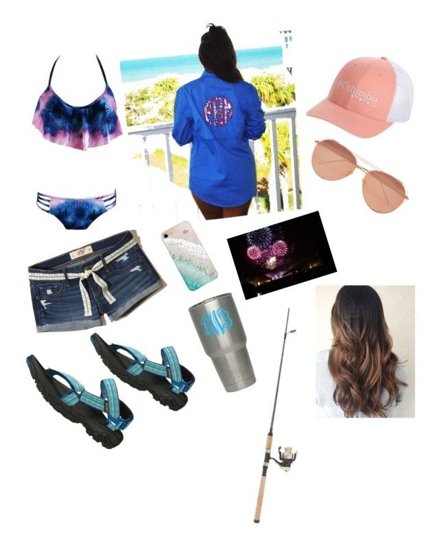"""fishin gonna be lit!!!‼️💕"" by maddie73mac on Polyvore featuring Hollister Co., Linda Farrow, Teva and Gray Malin"