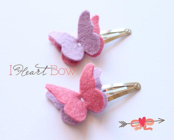 Fieltro mariposa de cabello / pelo accesorios / lana fieltro / fieltro Butterfly Clip Snap / lavanda rosa / diademas para el pelo de niña / / hecho a mano por IHeartBow