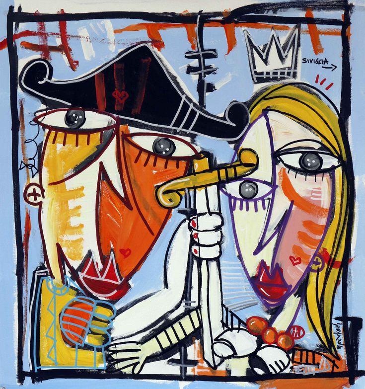 painting for lovers, kiss bullfighter with sivillana, Spanish art, contemporary art very colorful paintings di paintingsiviglia su Etsy