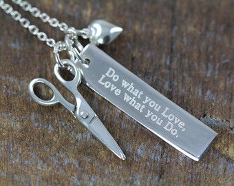 Gift Hair Stylist Hairstylist Cosmetologist Jewelry Engraved Scissor Necklace, Scissors, Do What You Love What You Do, Engraved Quote Pendant by Shiny Little Blessings . 925 Sterling Silver.