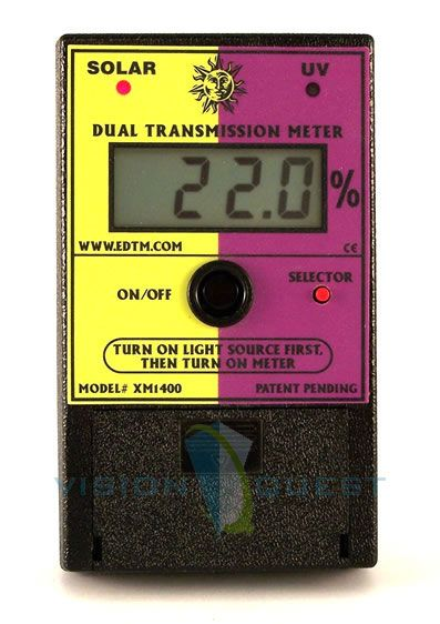 The digital XM1400 transmission meter is the perfect tool for demonstrating the SOLAR & UV blocking capabilities of a given product. The XM1400 is able to calculate the SOLAR & UV Transmission percentages associated with a given material. The XM1400 may be used to measure the SOLAR & UV characteristics of glass, film, coatings, laminates or other materials. XM1400 was designed specifically for CONVINCING sales presentations. Buy it here $289.00
