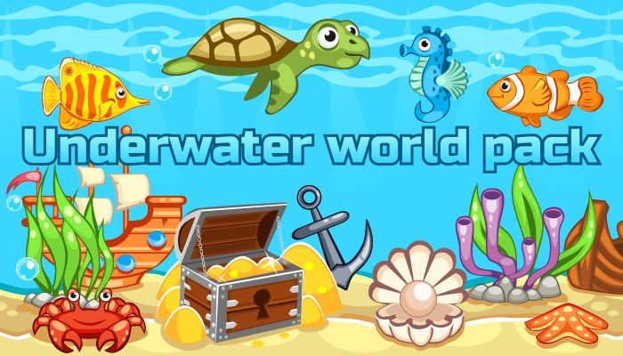 Underwater world pack contains: 1. EPS Vector source files with set of objects: - 14 underwater creatures, divided into vector parts, ready for animation - 3 plants (2 of them have several frames of animation) - 12 other items (see preview images) - one tileable horizontally background  Vector files are fully editable and resizable. SVG vector source files are also included 2. Preview images of the pack with white background 3. PNG images of items and vector parts on transparent background
