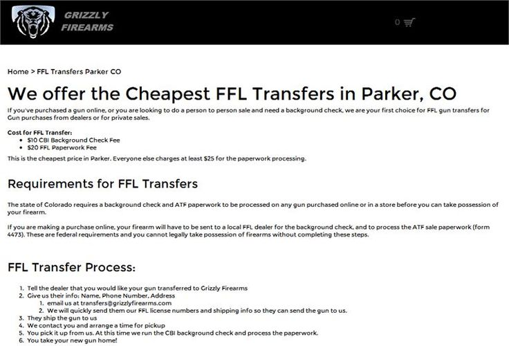 Cheapest FFL transfers in Parker, CO.