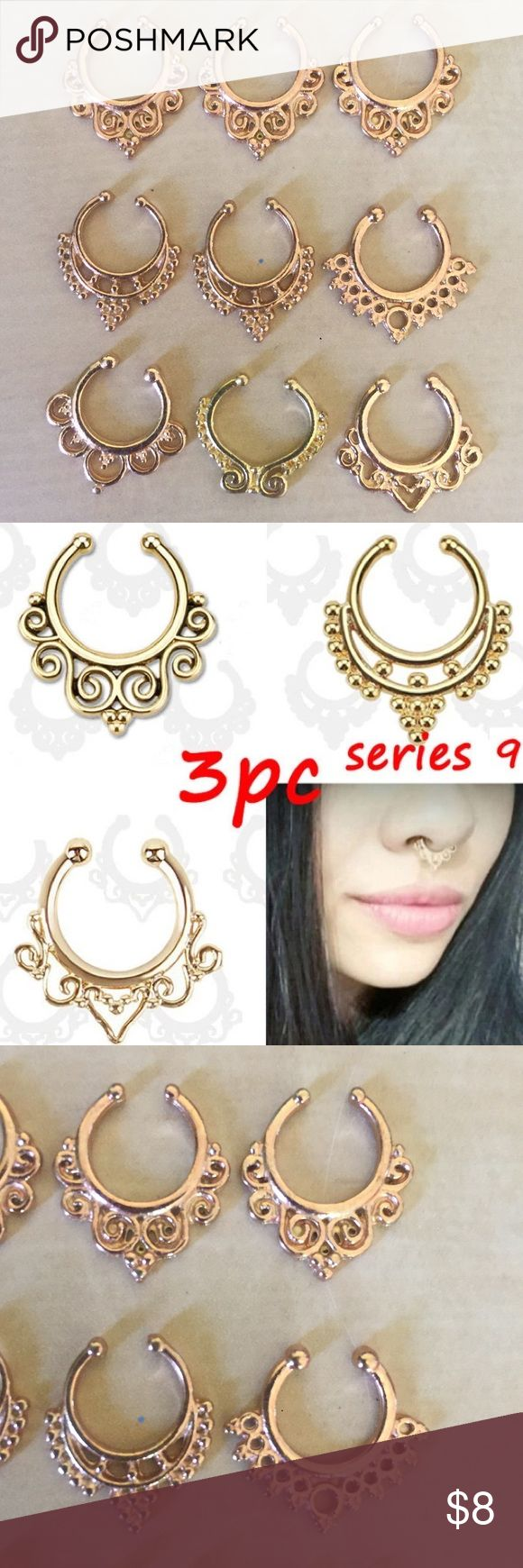 septum rings gold body piercing nose ring jewelry Set of 9 temporary septum rings ! About the size of a dime. Dark gold and a few lighter gold. Perfect for music festivals rave Coachella burning man etc. I will do $8 including shipping through ♈️enmo or ♏️ercari. tags: body clip body piercing jewelry faux nose ring belly button plugs gauges earrings pierce goth punk rave temporary edc edm nasty gal dollskill feminist iron fist Wicca Wiccan gothic hot topic boho bohemian raveready iheartraves…