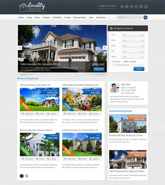 Best Of The Best Real Estate WordPress Themes Images On - Wordpress contact us page with google map