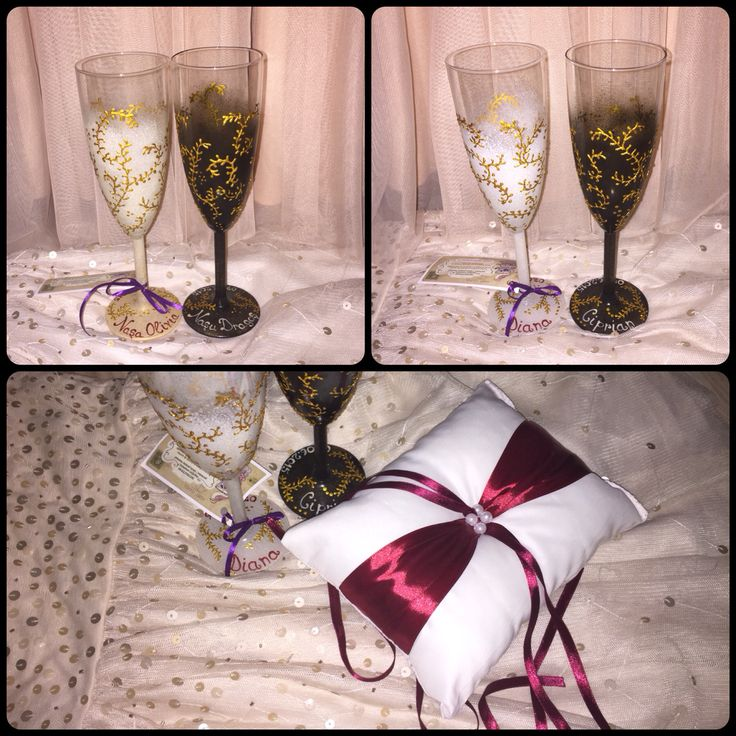 My hand painted champagne glasses and ring pillow made by  http://www.myneverland.ro ❤️