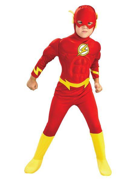 Lasten Naamiaisasu; Flash Deluxe  Lisensoitu Oikeuden puolustajat (Justice League) Flash Deluxe asu. Muuttaa tavallisen lapsen hetkessä salamannopeaksi punaiseksi sankariksi. Lihakset sisältyvät hintaan. #naamiaismaailma