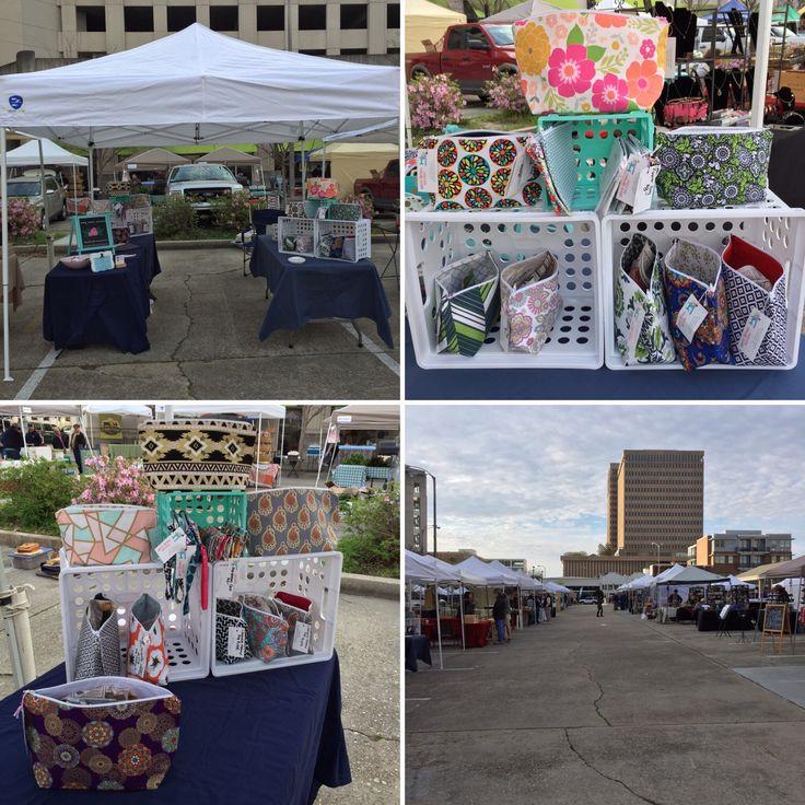 Arts Market in downtown Baton Rouge, LA, craft show.  Craft show set up