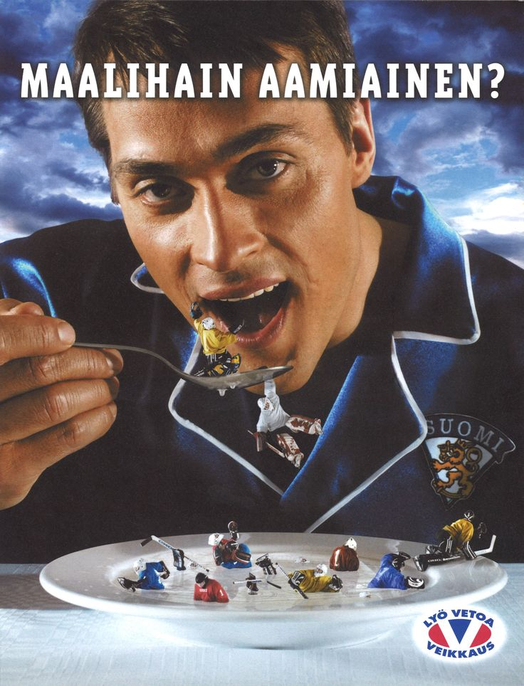 "Teemu Selänne - Finnish ad from 2002, ""The breakfast of a goal shark?"" is a rough translation ;) ;D"