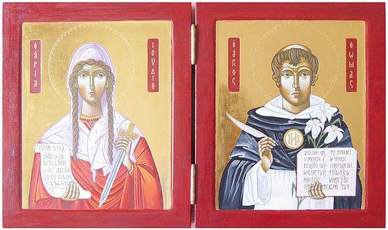 Podwójna ikona św. Judyty i św. Tomasza z Akwinu, złocenie na pulment, tempera jajeczna