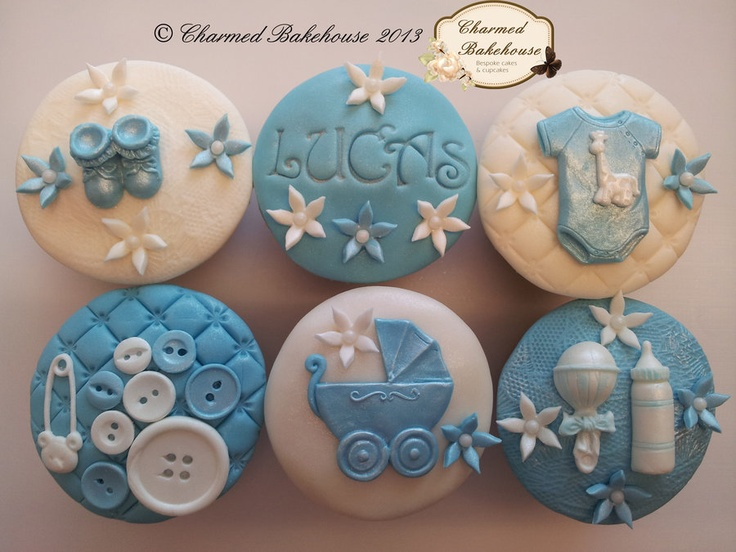 New baby - baby boy cupcakes