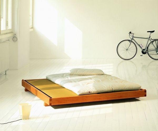 Japanese insired bedroom furniture design wooden platform frame futon mattress