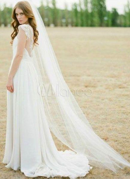 Kathedrale Kamm Hochzeit Schleier weißem Tüll 1 Tier Schneiden Rand Brautschleier