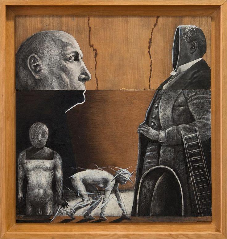 D-ART Entre el Ego y el Ser.  Tec, Mixta: Collage, grafito tinta, y extracto de nogal sobre madera formato 55 x 60 cm.