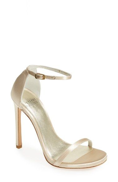 Love these! Stuart Weitzman ankle strap sandals in blonde satin. Legs look so long in these!