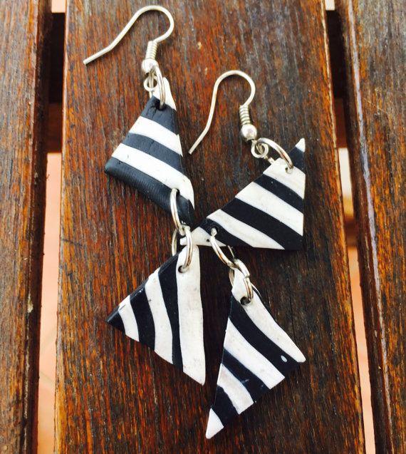 Two Triangle stripe earrings Jewellery handmade by MajorMinorShop