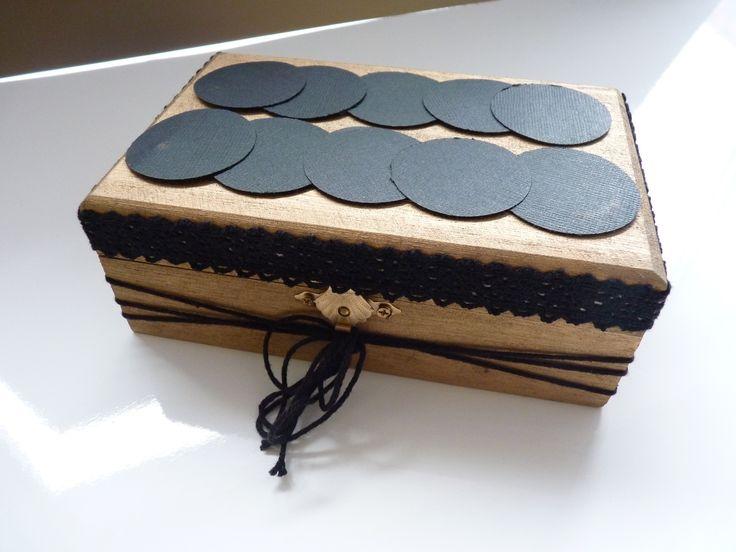 Boîte en bois décorée couleurs bronze et noir parfaite pour offrir un cadeau(bijou, bon d'achat...) : Boîtes, coffrets par souvenirs-intemporels