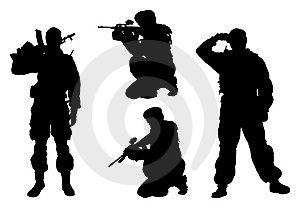 4 военный человек силуэт изолированный белый вектор иллюстрация