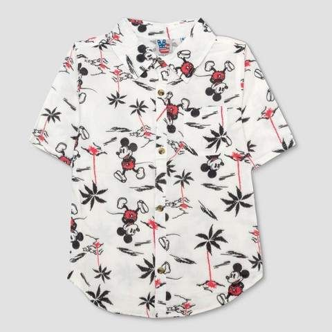92e926134dbf Boys' Mickey Mouse AOP Short Sleeve Button Down Shirt - Ivory #sleeve#Short #pocket