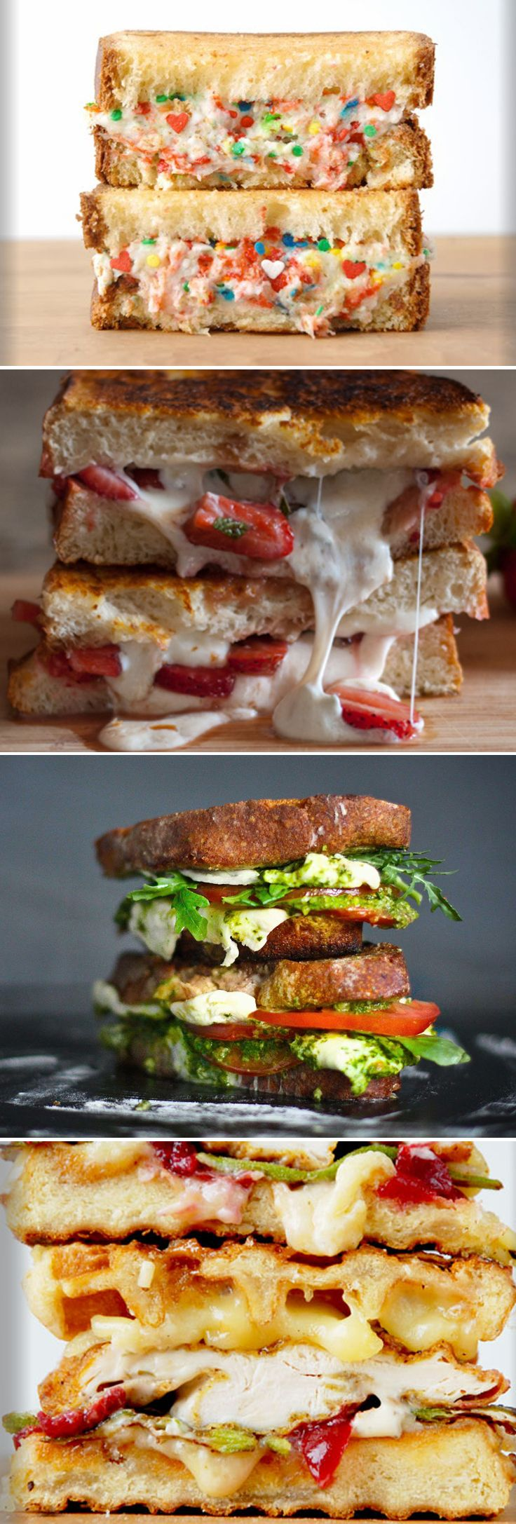 Creative #grilled #cheese sandwich recipes including: Funfetti & Riccotta Cheese, Burrata Balsamic Strawberry, Chicken & Waffle, and Caprese & Fresh Mozzarella are but a few of the easy #GrilledCheese recipes I hope you'll enjoy as much as my family did. http://www.cheeserank.com/culture/insane-grilled-cheeses-recipes-sandwiches/#!/image-27