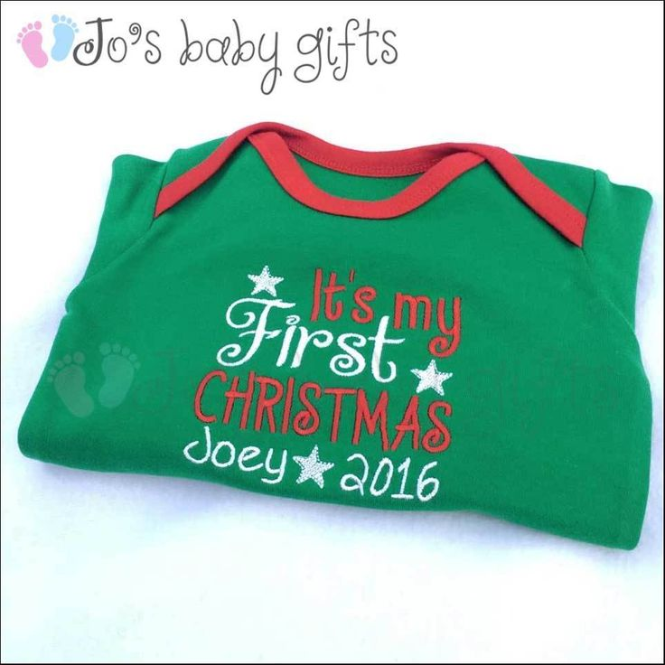 New Personalised Baby 1st Christmas Sleepsuit/Baby Grow, Unique Embroidered Gift