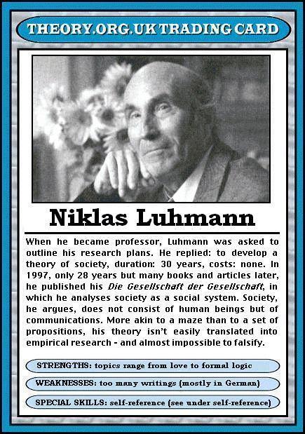 Niklas Luhmann - Theory.org.uk trading cards