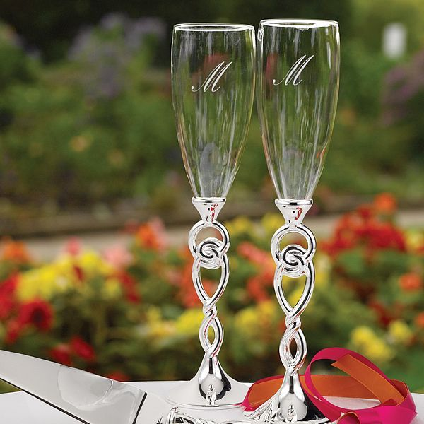 celtic wedding reception ideas | Personalized Celtic Love Knot Toasting Flutes Set