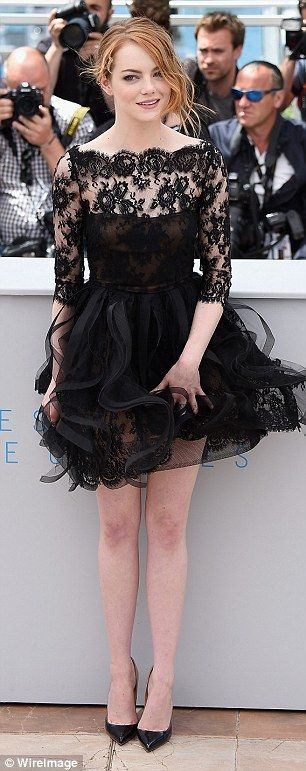 Emma Stone in Oscar de la Renta dress, Christian Louboutin shoes - 2015 Cannes Film Festivals. (15 May 2015)