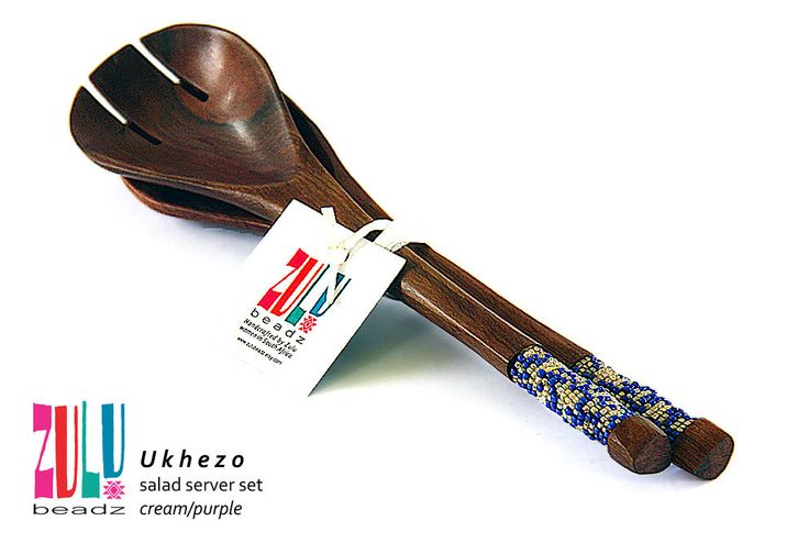 UKHEZO - Beaded Wooden Salad Servers  - Cream/Purple by ZuluBeadz on Etsy