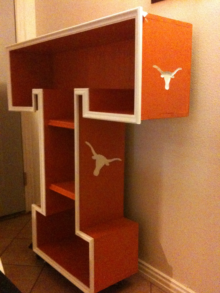 My son loves longhorns so I built him this shelf. The longhorn emblems are actually routered in. ^^^ not my post, but this is awesomeness at its best.