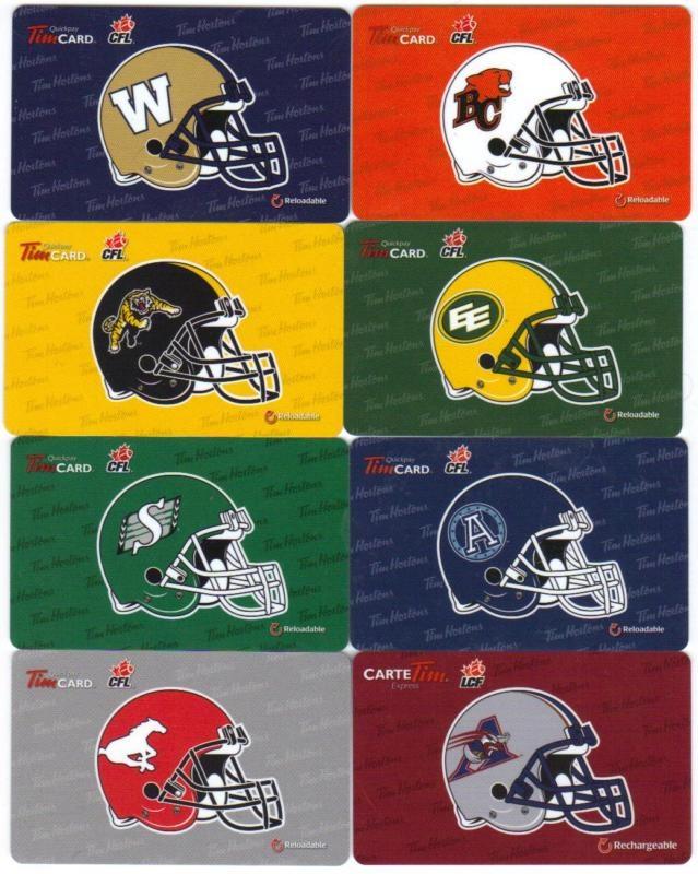 Tim Horton's CFL 2012 Complete Set Team Helmet Series Tim Cards Collection