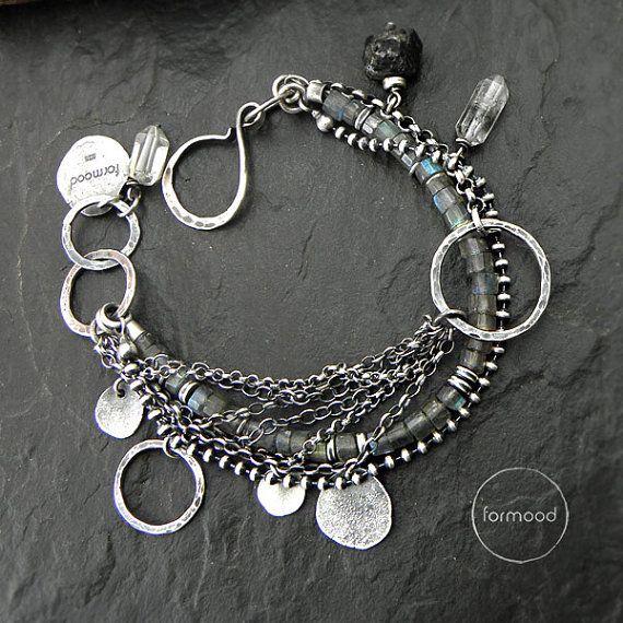 Bracelet  raw sterling silverlabradorite crystal by studioformood