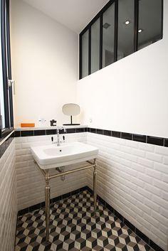 cool Idée décoration Salle de bain - Salle de bain retro - Atelier Joseph - Carreaux de ciment et carrelage métro...