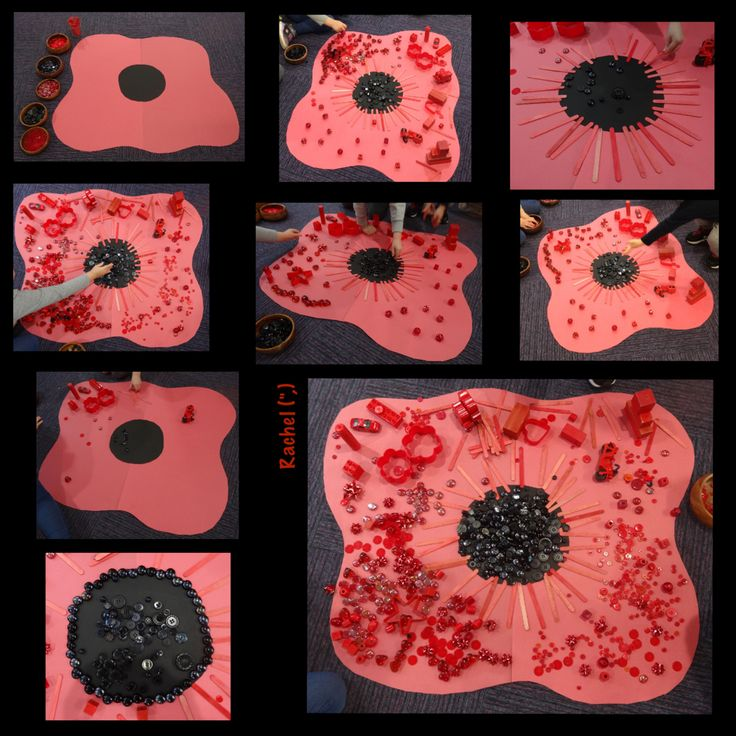 "Decorating a Poppy with loose parts - collaborative work from Rachel ("",)"