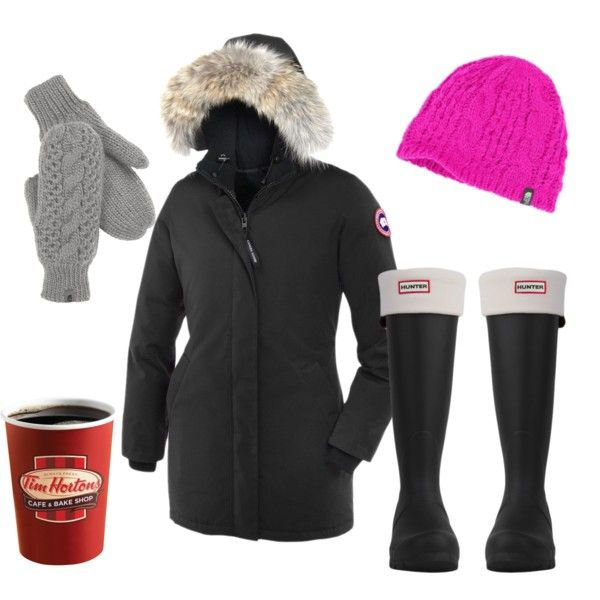 Canadian outfit - Tims, Hunter Boots, The North Face and Canada Goose Jacket by briana-fougere on Polyvore featuring polyvore, fashion, style, Canada Goose, Hunter and The North Face