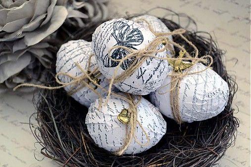 Shabby chic veľkonočné vajíčka sada 6 ks