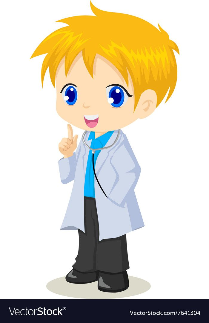 Cute Cartoon Of A Boy As A Doctor Vector Image On Dinosaur