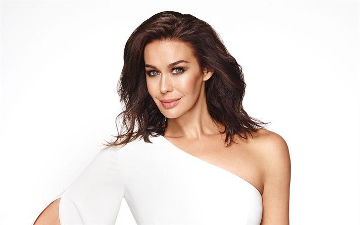 Download wallpapers Megan Gale, 4K, Australian actress, portrait, white dress, beautiful woman, fashion model
