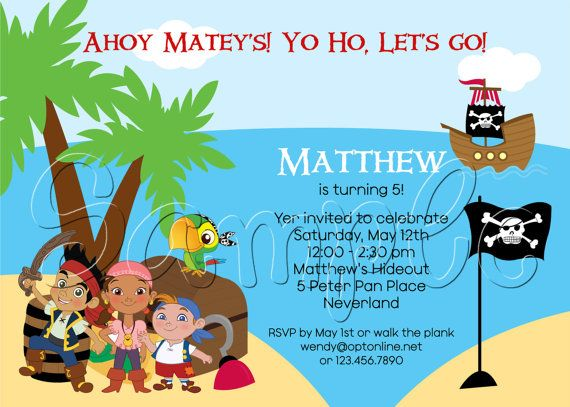 50 best images about Jake and the Neverland pirates birthday decor – Neverland Party Invitations
