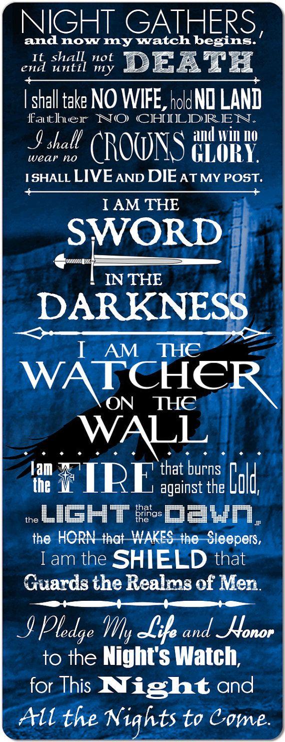The Night's Watch Oath  Giant 10 inch Fridge Magnet by Artzthings, $10.00