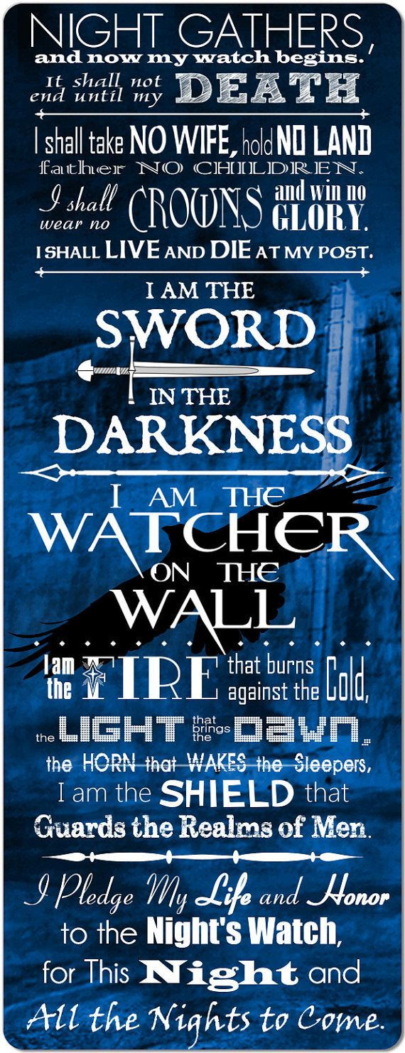 The Night's Watch Oath  Giant 10 inch Fridge Magnet by Artzthings, $10.00